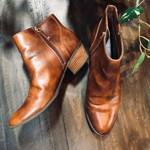 Dr. Scholl's Cognac Vegan Leather Ankle Booties 11